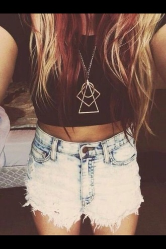 jeans jewels blouse triangle geometric geometric necklace gold necklace shorts ripped jeans high waisted shorts bleached