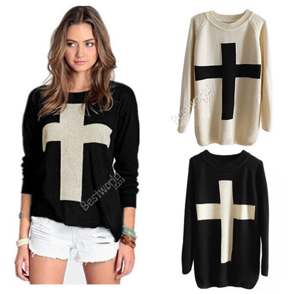 New casual hot fashion womens cross knit pattern sweater pullover outerwear tops
