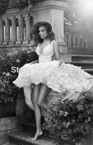 Aliexpress.com : Buy 2014 White Fashion Deep V Neck Rufles Front Short And Long Back Ruffles Fashion Wedding Dress Bridal Gowns from Reliable dresses at discount prices suppliers on SFBridal