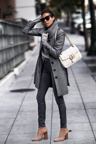 fashionedchic blogger coat sweater jeans shoes bag jewels fall outfits grey coat gucci bag grey pants grey sweater boots