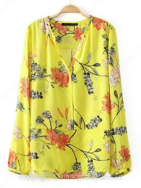 Yellow V-neck Long Sleeve Floral Print Chiffon Blouse - HandpickLook.com