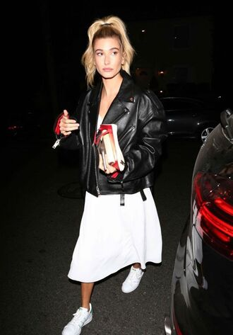 shoes sneakers midi dress white white dress hailey baldwin model off-duty streetstyle jacket fall outfits