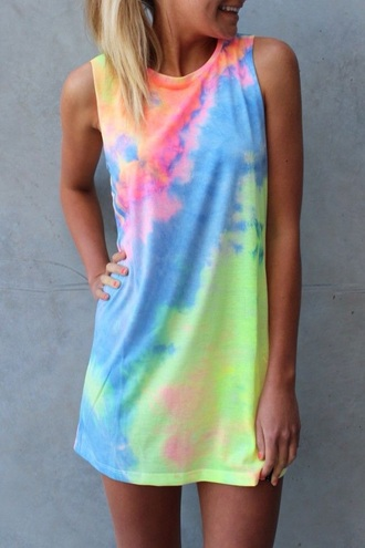 dress muscle tee tie dye summer dress t-shirt t-shirt dress shift dress muscle tee dress tie dye dress tye dye dress summer outfits multicolor mini dress sleeveless