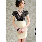 dress,lace dress,lace,cream,black,cream dress,black dress,jewels