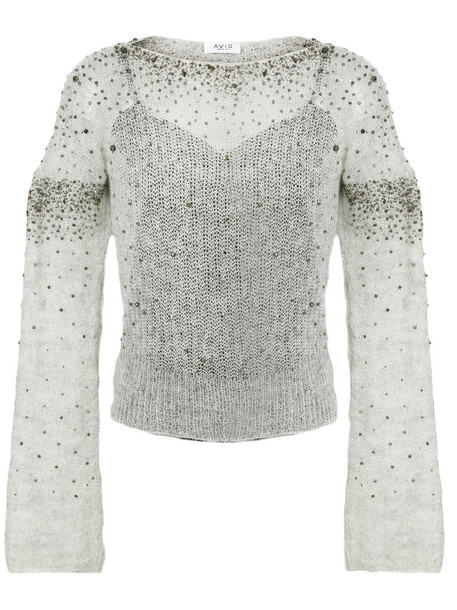 top embellished top women embellished mohair wool grey
