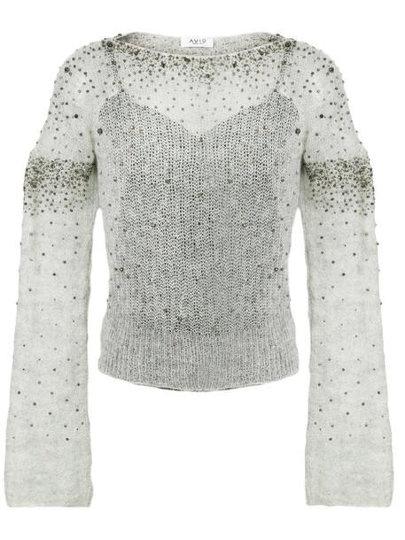 AVIU top embellished top women embellished mohair wool grey