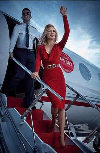 dress midi dress kate hudson red dress red editorial bodycon dress