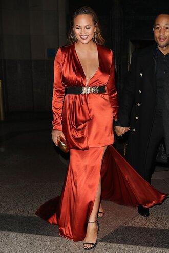skirt maxi skirt red red dress chrissy teigen belt blouse top two-piece