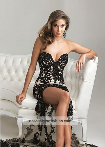 Sexy Black Nude Strapless Lace High Low Prom Dresses 2014 [High Low Prom Dresses 2014] - $205.00 : Fashion Cheap Prom Dresses, Formal, Homecoming Dresses - DressPromFashion