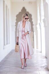 dress,tumblr,pink dress,slip dress,coat,trench coat,shoes,mules,bag,basket bag,round sunglasses,sunglasses