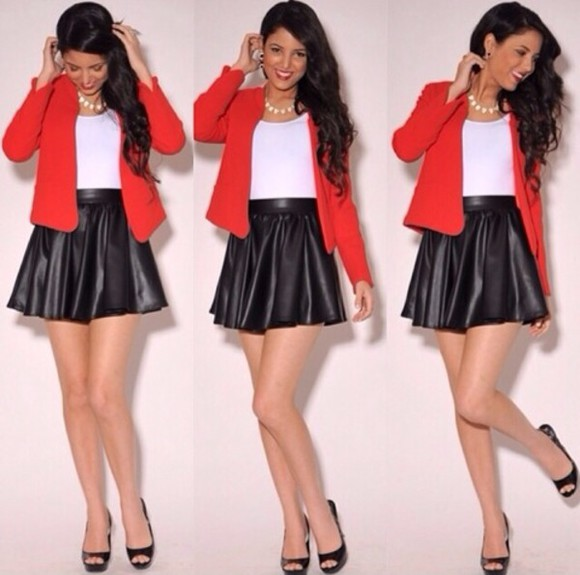 skirt black black skirt white red