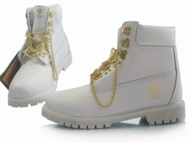 buy popular 59dbd 8887a shoes white women all white timberland boots gold chain timberland white  and gold timberland boosts top
