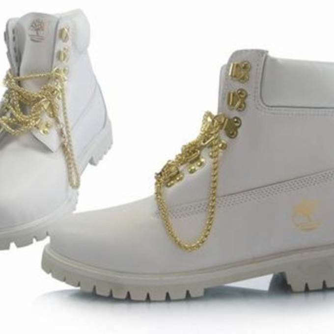 all white timberlands with gold chain wwwimgkidcom