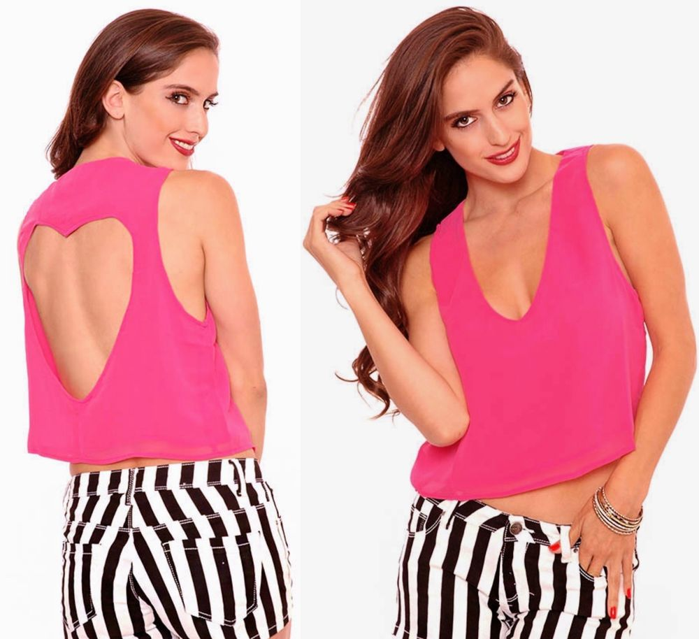 Back That Heart Up Drapy Sexy V Plunge Crop Top Tank Blouse Hot Bright Pink | eBay