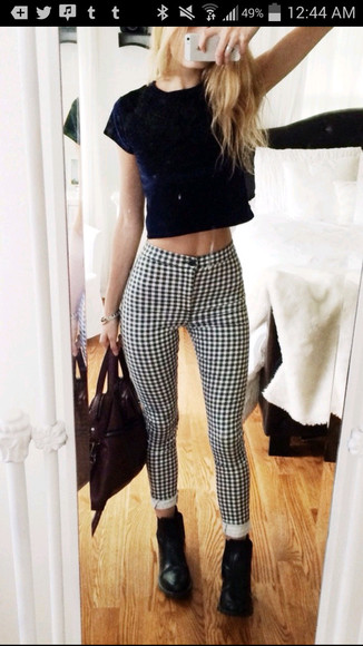 jeans flannel pattern patterned jeans black and white