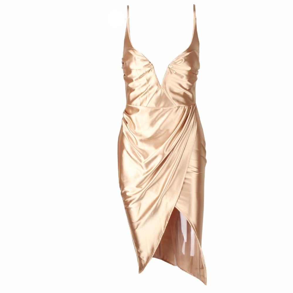 Gold Satin V-Neck Cross Wrap Drape Dress on Storenvy
