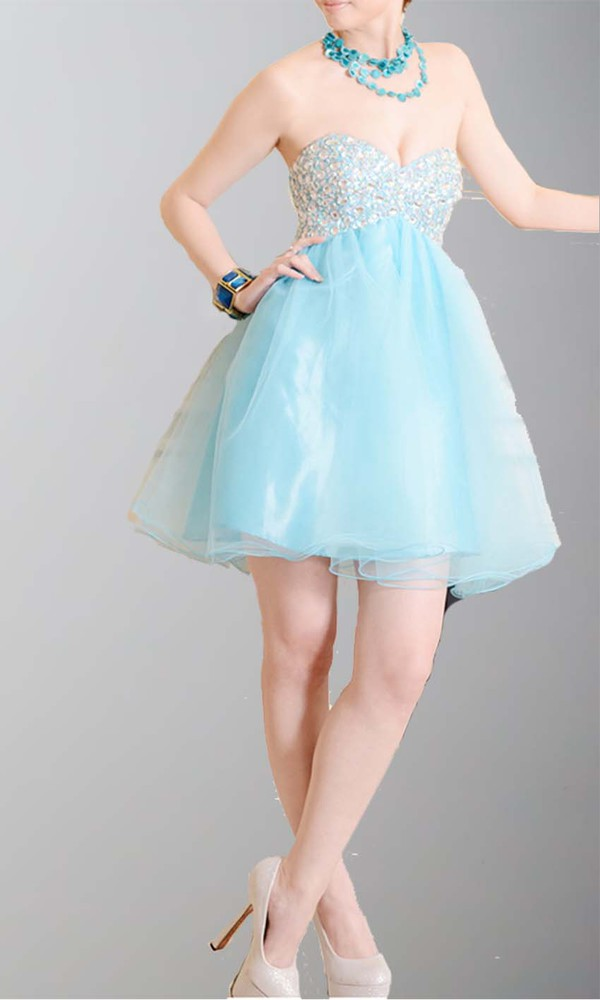 short prom dress homecoming dress graduation dresses sweetheart dress empire waist dress light blue organza dresses