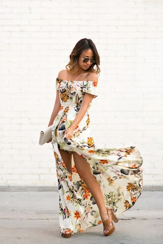 lace and locks blogger jewels bag sunglasses shoes slit dress off the shoulder floral dress summer outfits bardot dress off the shoulder dress maxi dress flowy dress flowy aviator sunglasses white clutch brown sandals high heel sandals sandal heels thick heel necklace