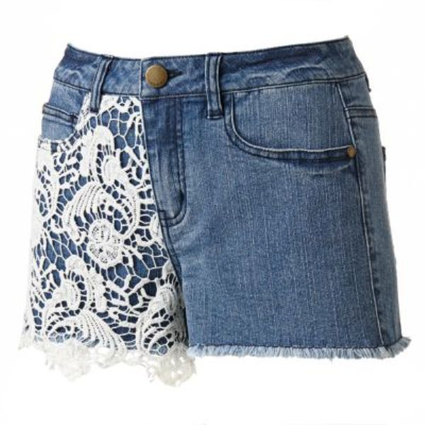Tinseltown Lace Crochet Denim Fray Shorts | eBay