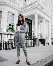 jacket,blazer,striped blazer,cropped pants,striped pants,loafers,stripes,pants,matching set,black loafers,shoes