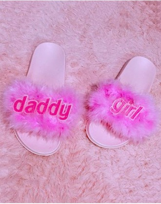 shoes girl girly girly wishlist slide shoes fur fur slides pink pink fur tumblr daddys girl