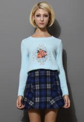 sweater,baroque,rose embellished,blue,knitwear,top