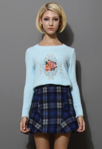 top sweater blue baroque rose embellished knitwear