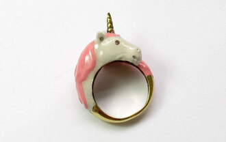 ring unicorn white gold pink jewels