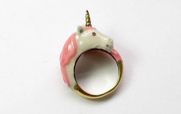 ring unicorn white gold pink jewels