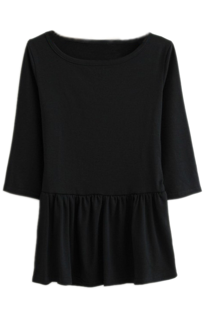 ROMWE | Round Neck Pleated Cropped Black T-shirt, The Latest Street Fashion