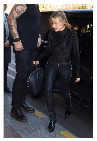 top bodysuit black bodysuit hailey baldwin all black everything pants leather pants boots model streetstyle fashion week shoes