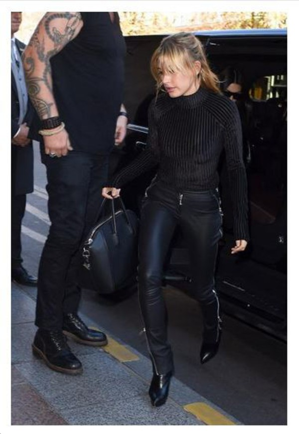 top bodysuit black bodysuit hailey baldwin all black everything pants leather pants boots model streetstyle fashion week shoes