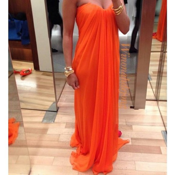 dress bustier dress maxi dress dess summer dress orange dress sexy dress strapless dress orange draped dress