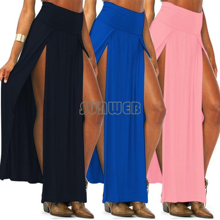 Les tendances populaires de bonbons de couleur taille haute double fentes femmes sexy jupe maxi jupes longues
