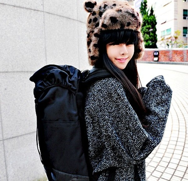 hat sweater backpack