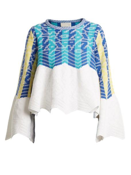 Peter Pilotto sweater jacquard cotton blue