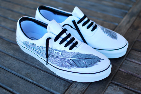 Hand painted native eagle feather on white vans by bstreetshoes