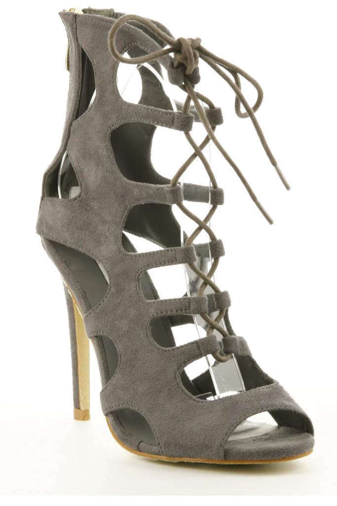 Reena Suede Heels - Grey