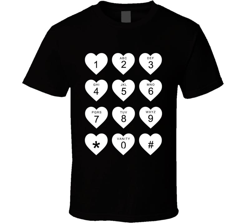 Hearts Phone Dial Pad Keypad Cellphone Fun Love Graphic T Shirt