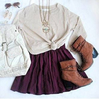 shoes brown boots heals boots with laces laced boots brown shoes red red skater skirt white sweater long necklace bronze necklace hipster bag