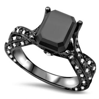 jewels emerald cut black diamond engagement ring black gold engagement ring pretty 1.85 ct emerald cut black cubic zirconia engagement ring in black gold plated silver evolees.com