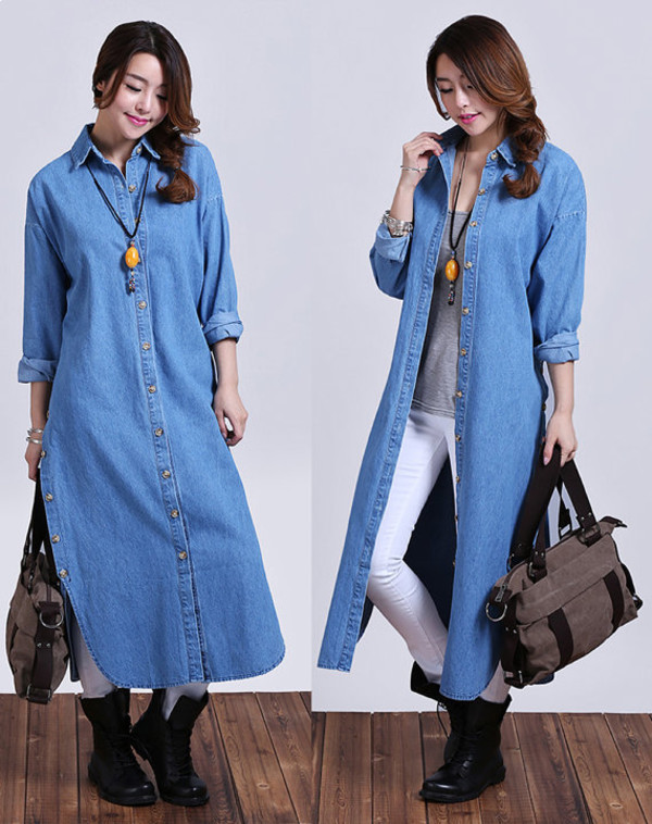 Jacket Denim Jacket Long Shirt Light Blue Coat Dark