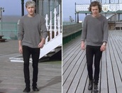 sweater,niall horan,harry styles,t-shirt,story of my life,grey sweater,grey,one direction