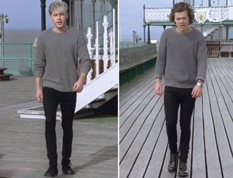 sweater niall horan harry styles t-shirt story of my life grey sweater grey one direction