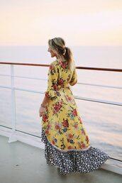 dress,tumblr,floral,floral dress,maxi dress,floral maxi dress,long dress,yellow,yellow dress,long sleeves,long sleeve dress