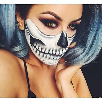 grunge t-shirt shirt make-up skelet scary black white