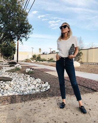 damsel in dior blogger t-shirt shoes sunglasses loafers white t-shirt gucci princetown