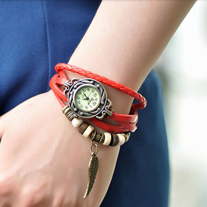[grxjy51500004]Stylish Vintage Mixed Colored Wings Beads Rhinestone Watch Bracelet  on Luulla