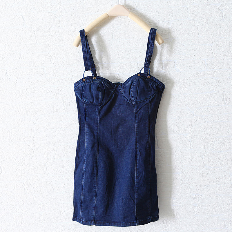 2012 spring sexy tube top slim fashionable denim spaghetti strap clothing short skirt wq1287-inDresses from Apparel & Accessories on Aliexpress.com