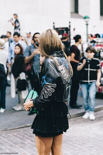 jacket embellished leather jacket embellished embellished jacket black jacket black leather jacket leather jacket skirt mini skirt streetstyle black skirt bag green bag
